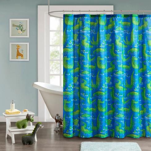 Shower Curtain Alligator Navy
