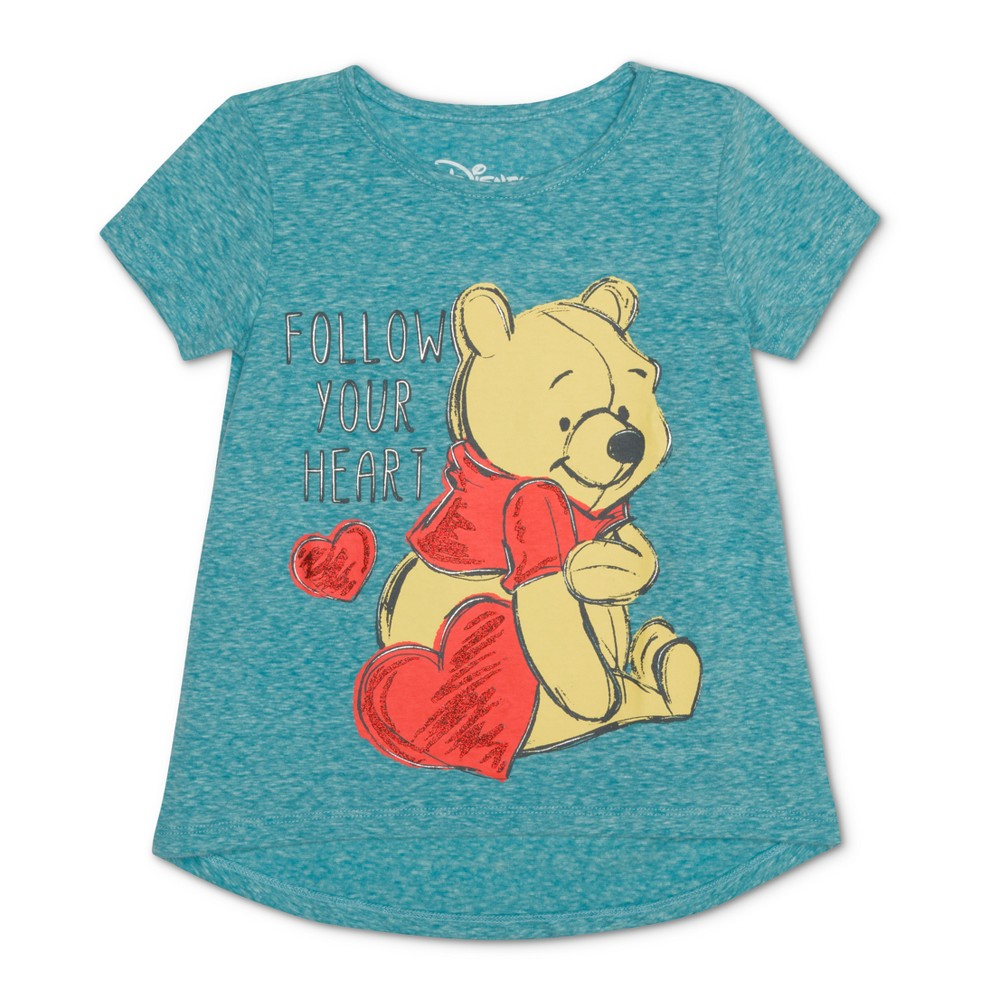 Toddler Girls' Winnie the Pooh Follow Your Heart Short Sleeve T-Shirt - Turquoise 12M, Blue