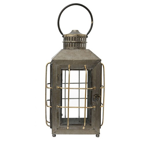 "Metal and Glass Lantern 21-5/8""H - Creative Co-Op® - image 1 of 1"