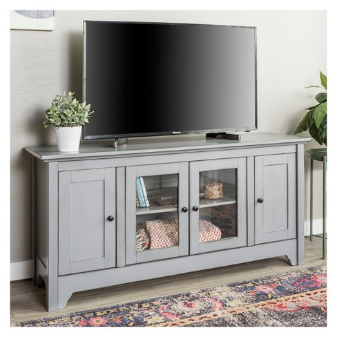 52 Wood Tv Stand Storage Console Vintage Gray Saracina Home Target