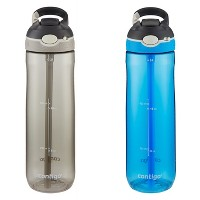 2-Pack Contigo AUTOSPOUT Straw Ashland 24oz Water Bottles (Gray & Blue)