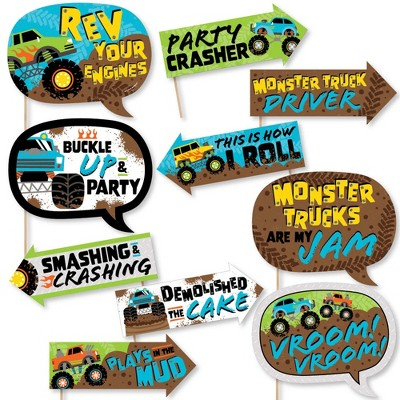Big Dot of Happiness Funny Smash and Crash - Monster Truck - Boy Birthday Party Photo Booth Props Kit - 10 Piece