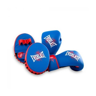 Everlast Prospect Youth Training Kit with Kickboxing Punching 8 Ounce Boxing Gloves and Mitts, Blue