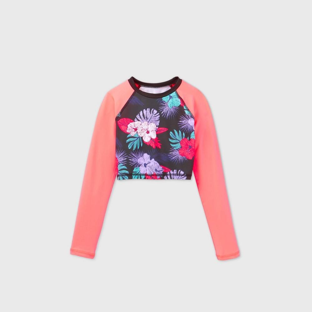 Girls 39 Long Sleeve Raglan Cropped Floral Rash Guard Swim Shirt Art Class 8482 M Plus