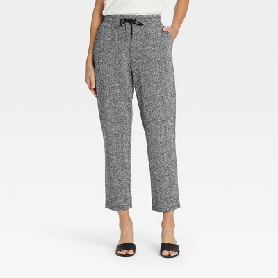 Women's High-Rise Knit Drawstring Ankle Pull-On Pants - A New Day™