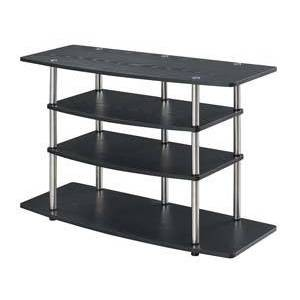 No Tools Wide Highboy TV Stand Black - Breighton Home