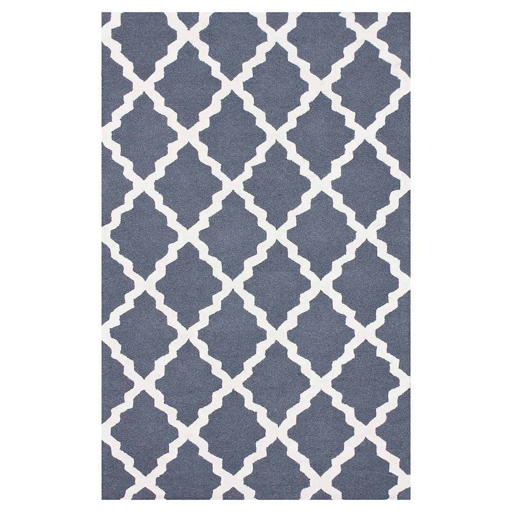 nuLOOM 100% Wool Hand Hooked Marrakech Trellis Accent Rug - Blue (2' x 3'), Blue Grey