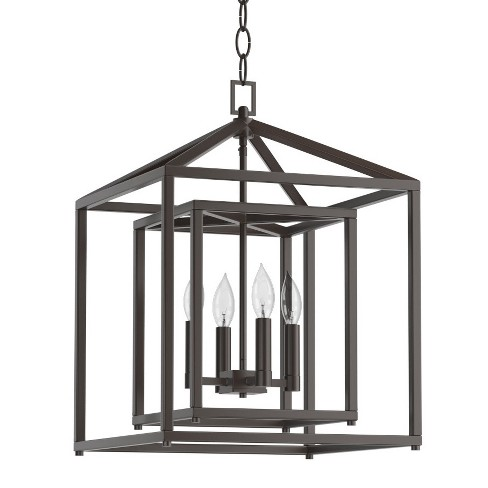 Park Harbor Phpl5114 17 Wide 4 Light Candle Style Chandelier With Lantern Shade Oil Rubbed Bronze