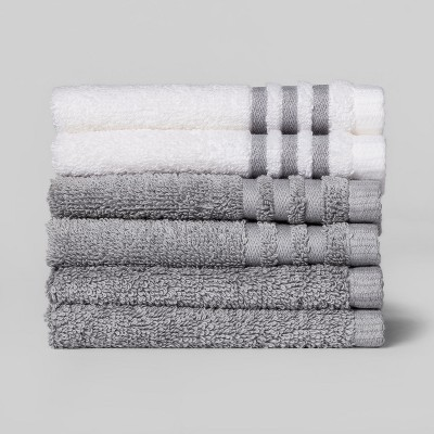 6pk Solid Washcloth Sets Gray Mist - Room Essentials™