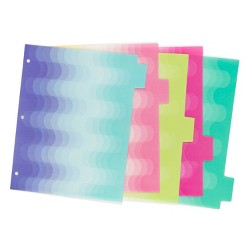 U-Brands 5ct Patterned Poly Tab Dividers - Tidal Ombre