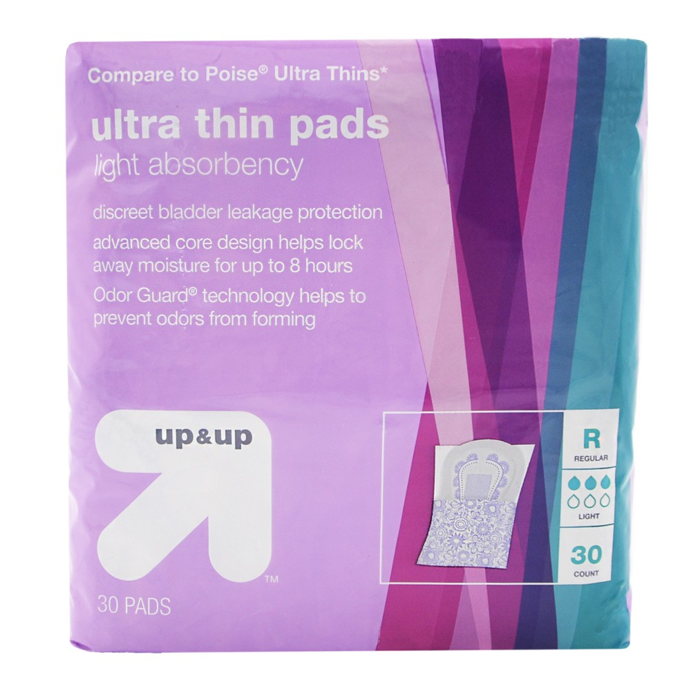 Incontinence Ultra Thin Light Absorbency Pads - 30ct - Up&Up (Compare to Poise Ultra Thins), Multi-Colored