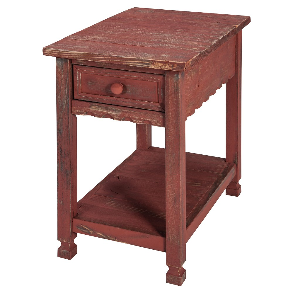 1-drawer Accent Table Wood Red - Alaterre Furniture