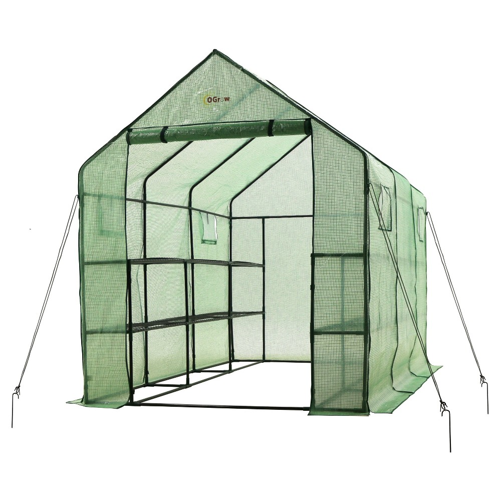 "Image of ""Very Spacious And Sturdy Walk - In 2 Tier 12 Shelf Portable Garden Greenhouse With Windows - Measures 117"""" L X 67"""" W X 83"""" H - Green - Ogrow"""