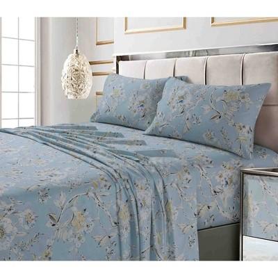 King 300 Thread Count Printed Pattern Sateen Pillowcase Set Sky Blue Colmar - Tribeca Living