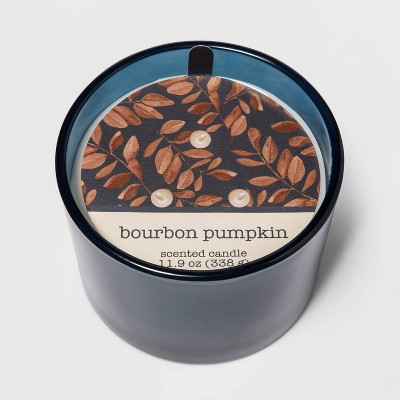11.9oz Frosted Glass Jar 3-Wick Bourbon Pumpkin Candle - Threshold™
