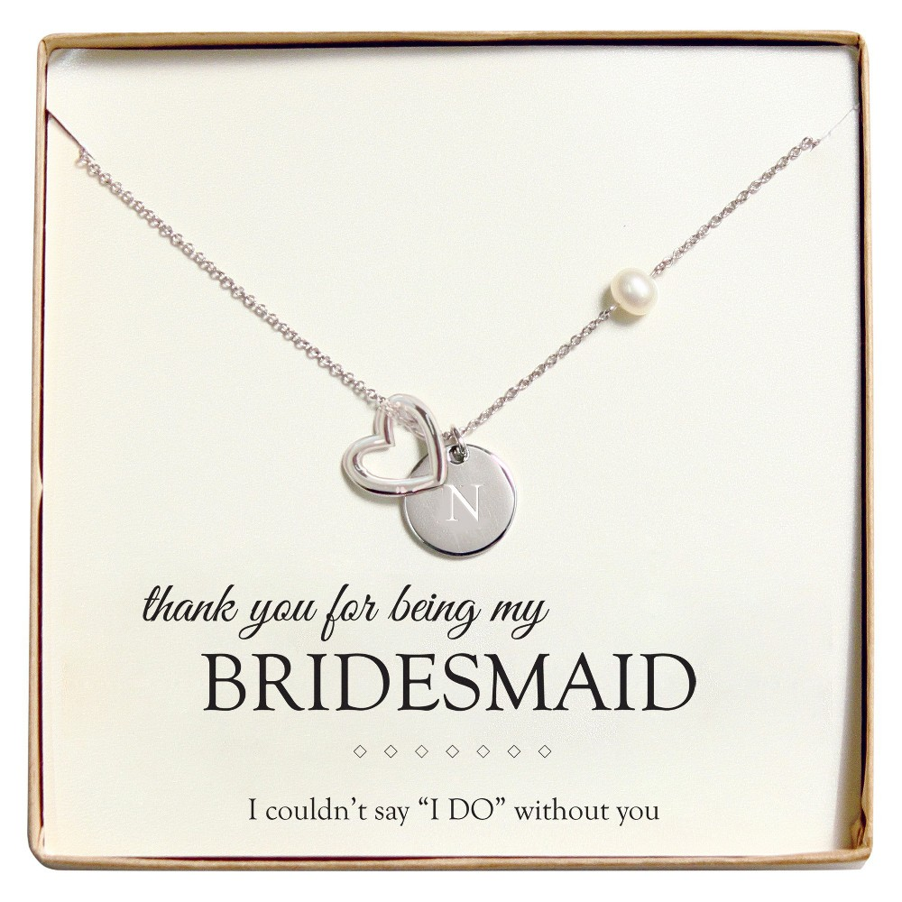 Monogram Bridesmaid Open Heart Charm Party Necklace - N, Silver
