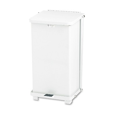 Rubbermaid Commercial Defenders Biohazard Step Can Square Steel 12gal White ST12EPLWH