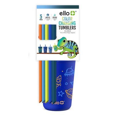 Ello 12oz 5pk Plastic Color Changing Kids' Tumblers With Twist on Lids