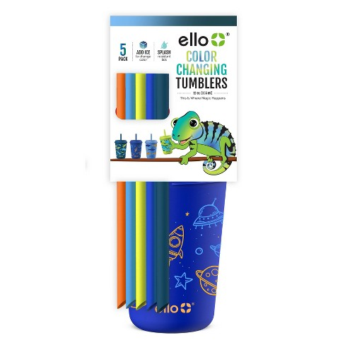 Ello 12oz 5pk Plastic Color Changing Kids' Tumblers With Twist on Lids - image 1 of 3