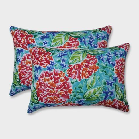 2pk Oversize Garden Blooms Rectangular Throw Pillows Pink - Pillow Perfect - image 1 of 1