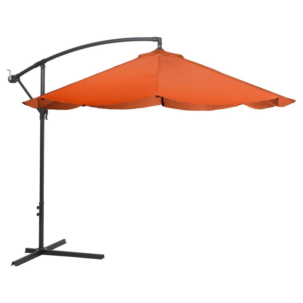 Offset 10' Aluminum Hanging Patio Umbrella - Dark Orange - Pure Garden