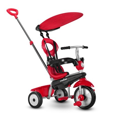 smarTrike Zoom Kids 4 in 1 Tricycle Push Bike, Adjustable Trike Ride On Toy for Baby, Toddler, and Infant Ages 15 Months to 3 Years, Red