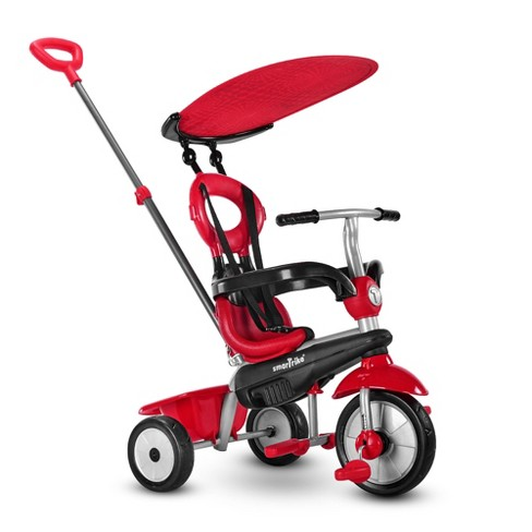 smarTrike Zoom Kids 4 in 1 Tricycle Push Bike, Adjustable Trike Ride On Toy for Baby, Toddler, and Infant Ages 15 Months to 3 Years, Red - image 1 of 4
