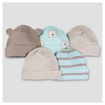 Baby Boys' 5pk Cap Set - Bear 0-6M - Gerber®