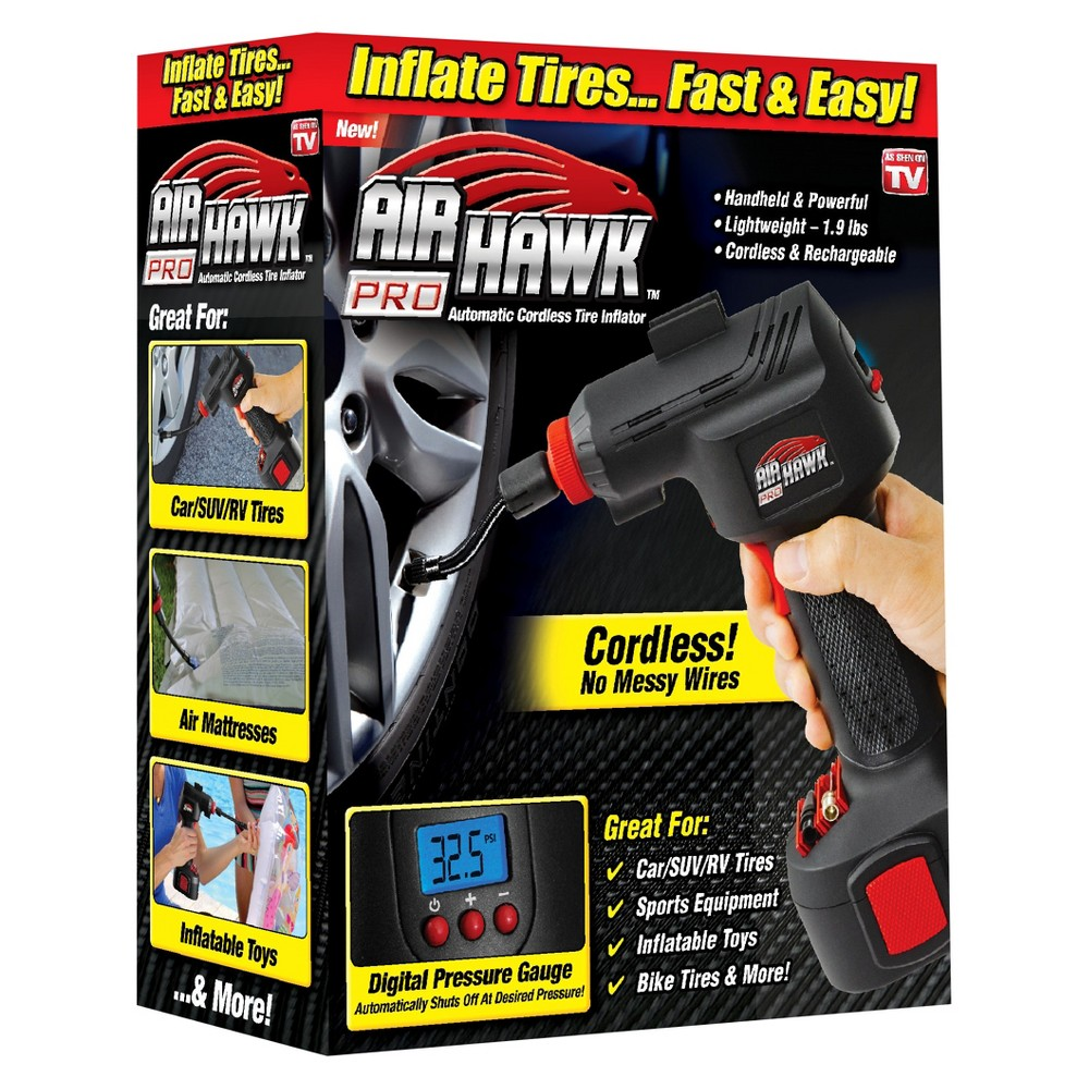 Image of As Seen on TV Air Hawk Pro Cordless Tire Inflator Black