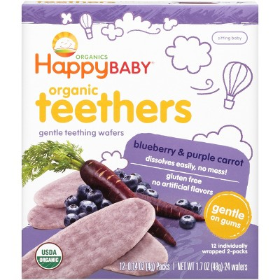 Happy Baby Blueberry & Purple Carrot Organic Teethers - 0.14oz/12pk Each