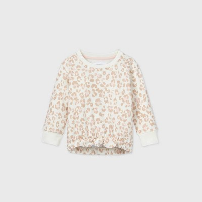 Grayson Mini Toddler Girls' Leopard Tie-Bottom Sweatshirt - Cream 18M