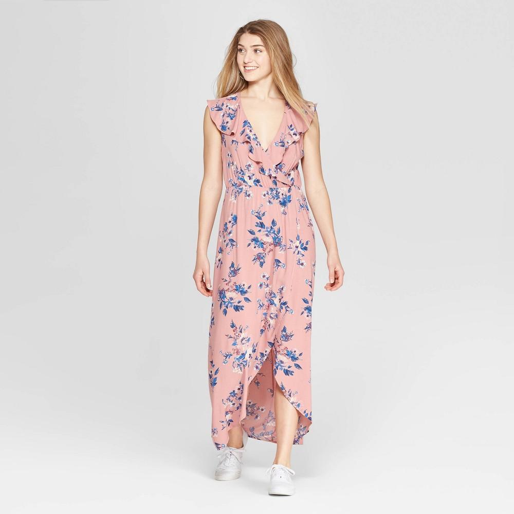 Women's Floral Print Flutter Sleeve V-Neck Wrap Maxi Dress - Xhilaration Rose (Pink) M