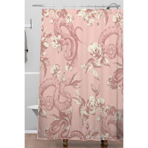 Shower Curtains Pink And Brown.Floral Snake Blush Shower Curtain Pink Deny Designs Target