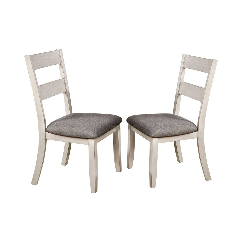 Image of 2pc Acker Slat Back Side Chairs White/Gray - ioHOMES, White Gray