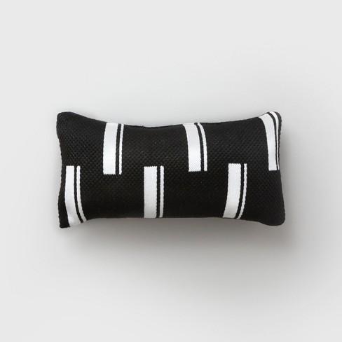Lumbar Duo Stripe Outdoor Pillow Black