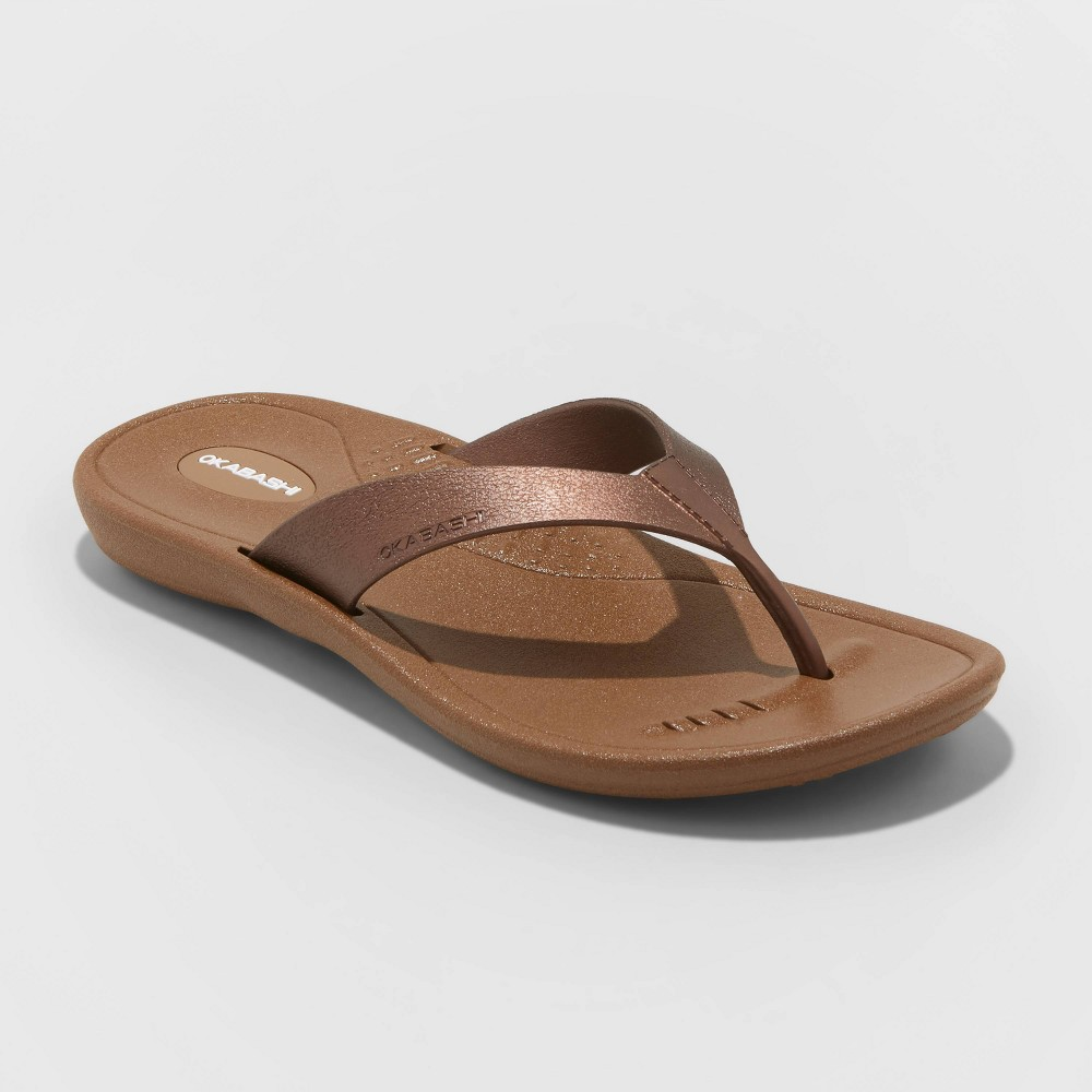 Womens Breeze Sustainable Flip Flop Sandals - Okabashi - Bronze L(9.5-10.5) Buy
