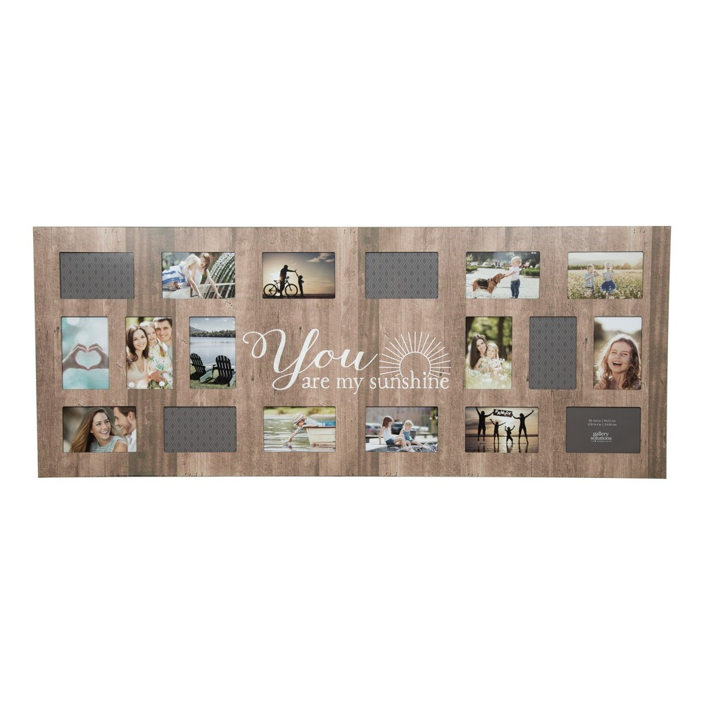 Image of Multiple Image 18 Opening Sunshine Collage Frame - Gallery Solutions, Brown