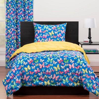 Full/Queen Brilliant Butterflies Reversible Comforter Set Blue - Highlights
