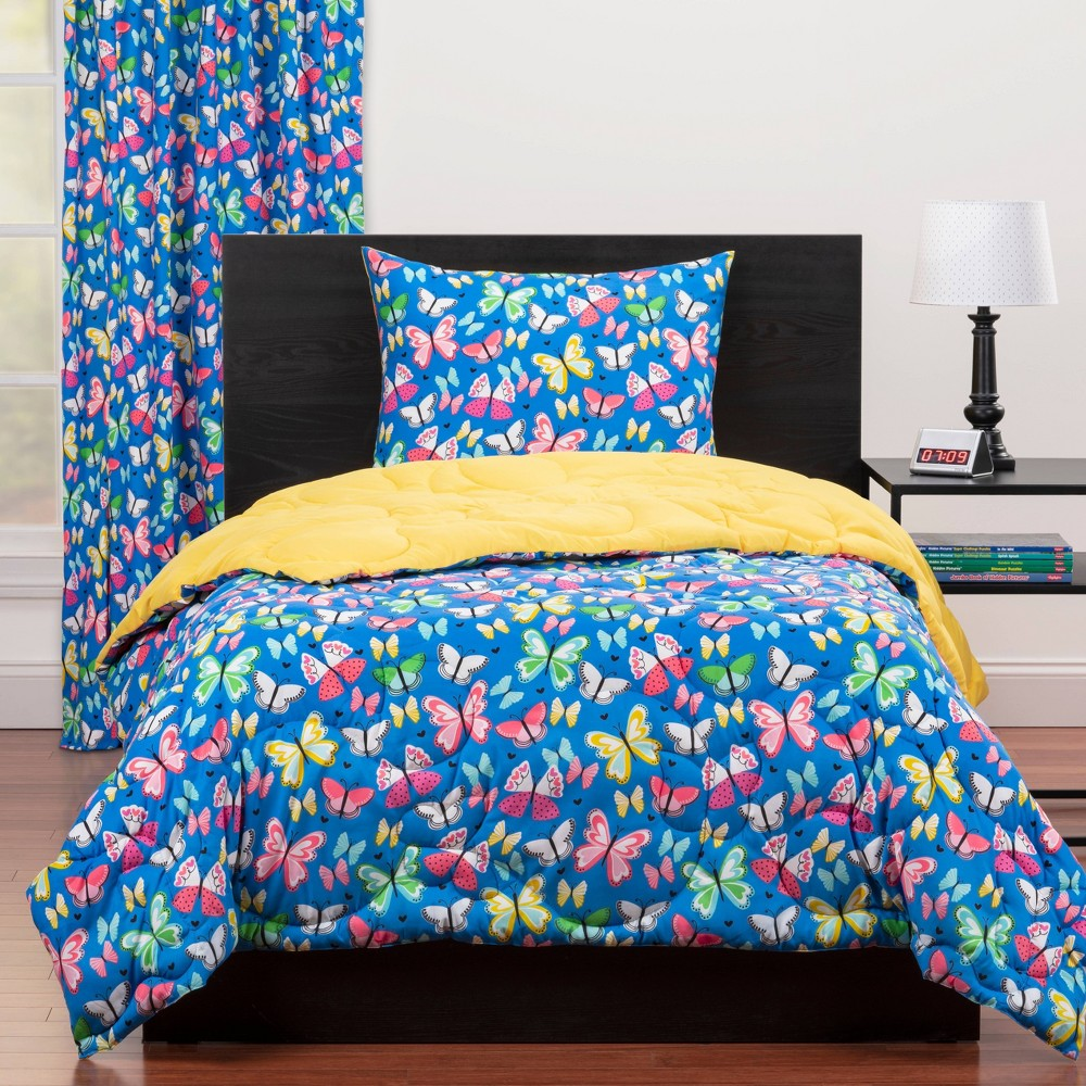 Image of Full/Queen Brilliant Butterflies Reversible Comforter Set Blue - Highlights