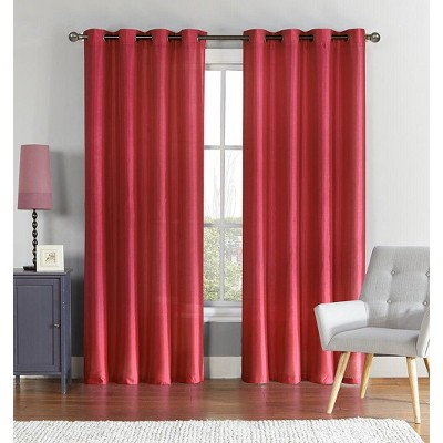 GoodGram 2 Pack Ultra Luxurious Faux Silk Semi Sheer Grommet Curtain Panels