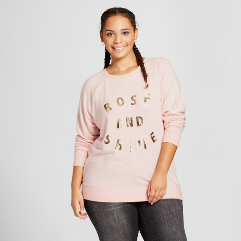 Women's Plus Size Rose and Shine Graphic Sweatshirt - Grayson Threads  Pink - image 1 of 2