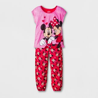 Girls' Minnie Mouse 2pc Pajama Set - Pink L