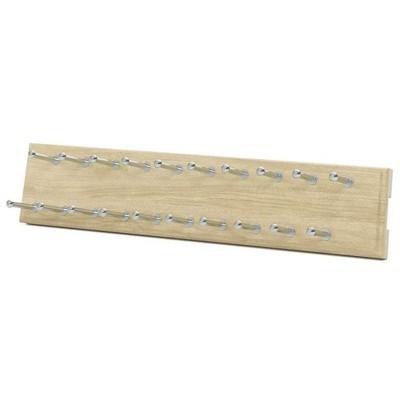 Easy Track 14 Inch Wide Composite Wood 20 Hook Sliding Wardrobe Closet Tie Hanger Storage Rack Organizer with 20 Tie Capacity, Honey Blonde