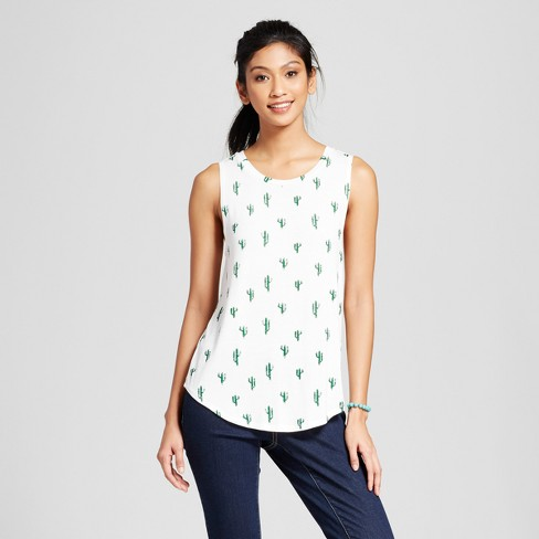 Women's Cactus Graphic Tank Ivory - Grayson Threads (Juniors') - image 1 of 2