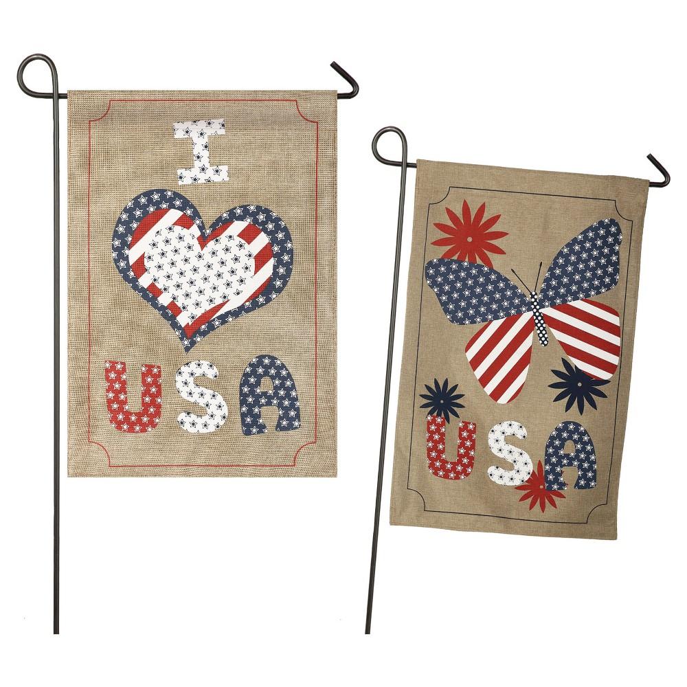 Love USA Garden Burlap Flag, Red