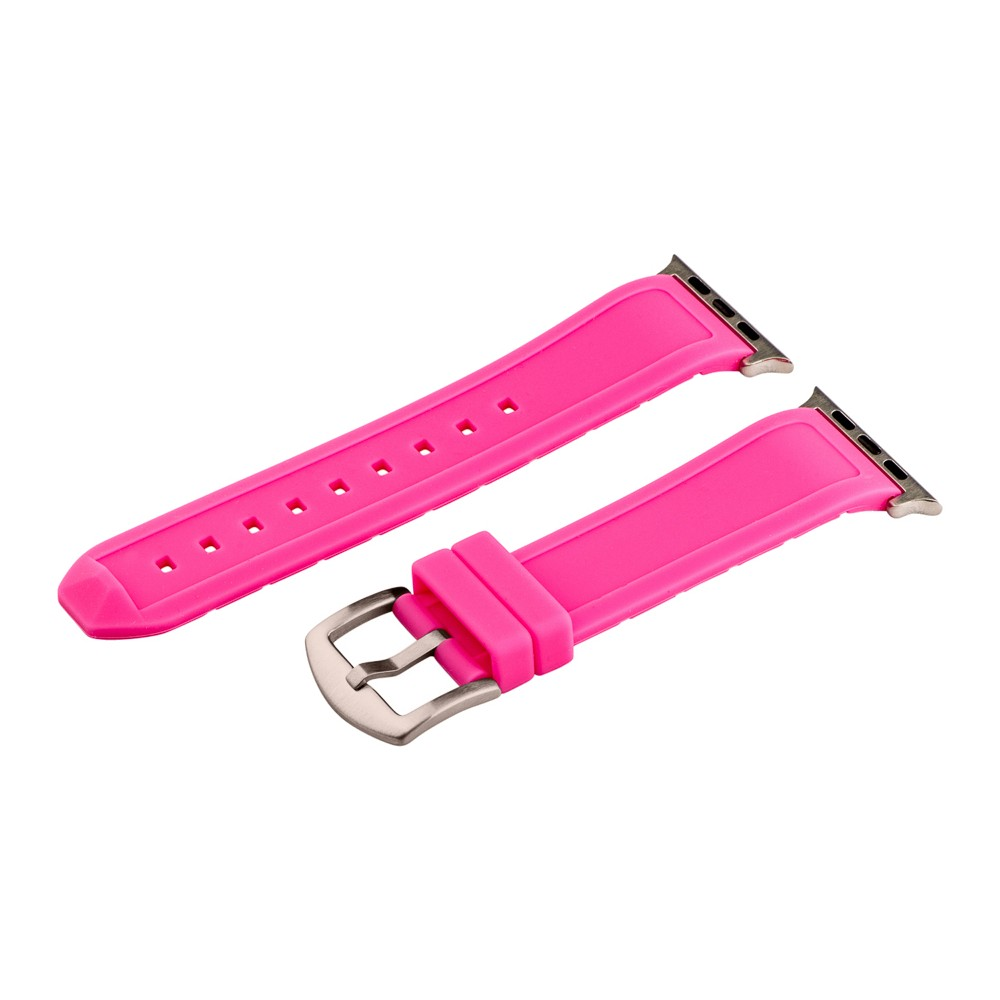 Clockwork Synergy Divers Silicone Apple Watch Band 42mm with Steel Adapter - Pink, Adult Unisex Customize the look of your timepiece with the Divers Silicone Apple Watch Band from Clockwork Synergy. Crafted from high-quality silicone, this pink watchband ensures soft, comfortable wear and long-lasting durability. With nine adjustability holes, you'll get the perfect custom fit so your watch stays in place all day. Whether you bring a fun pop of color to your look with the pink watchband, or you switch it out to complement a specific outfit, you'll love sporting a unique accessory that complements your style. Gender: Unisex. Age Group: Adult.