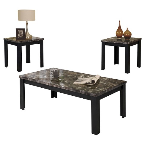3 piece carly pack coffee end table set faux marble and black acme target. Black Bedroom Furniture Sets. Home Design Ideas