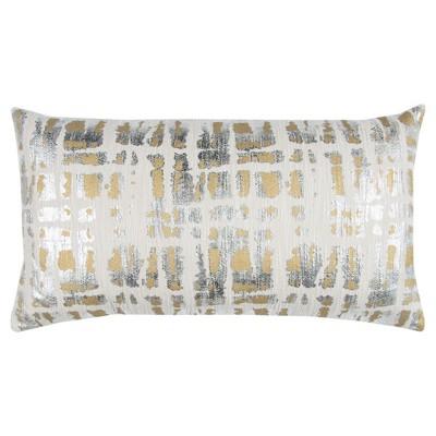 Gold Cotton Throw Pillow (14 x26 )- Rizzy Home