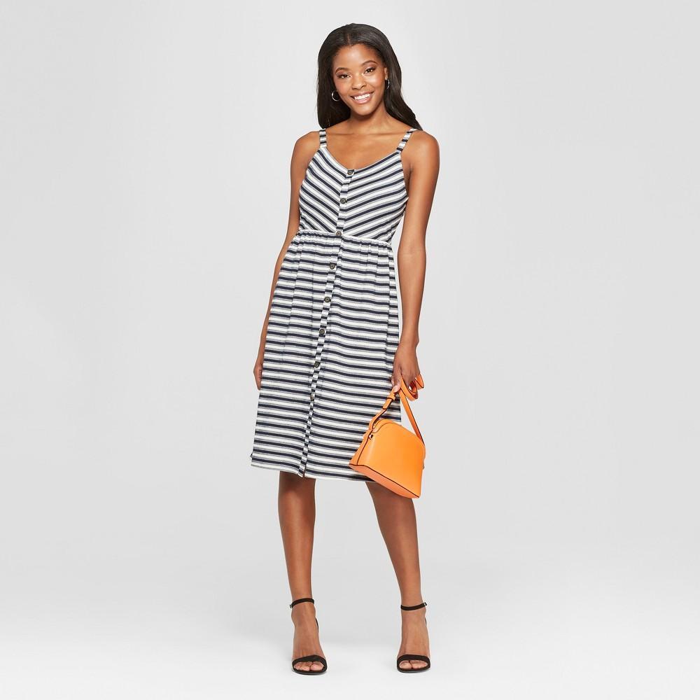 Women's Striped Strappy Button Front Knit Midi Dress - Xhilaration Classic Navy Xxl