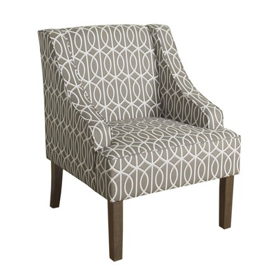 Fabric Upholstered Wooden Accent Chair with Trellis Pattern Design Gray/White/Brown - Benzara